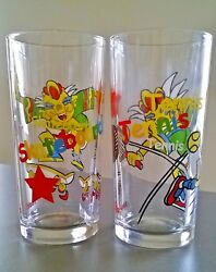 Nutella Sport Drinking Glasses X 2 Tennis And Skateboard Clowns Jars Collectables