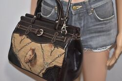 Vintage American West Tooled Leather Handbag Tapestry Horse Convertible Purse