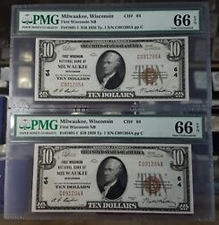 Rare 2 Consecutive 10 1929 Milwaukee Wi National Currency Bank Note Pmg 66epq