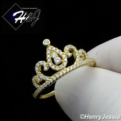 Women 925 Sterling Silver Icy Diamond Gold Crown Ring Size 6-9gr124