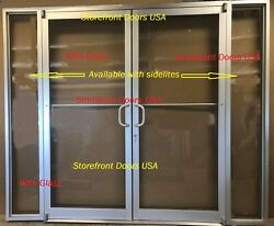 Storefront Door, Frame And Closer 6'0 X 7'0 Pair, Clear Finish W/glass And Sidelites
