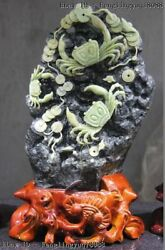 15 Chinese Dushan Jade Eight Direction Come Wealth Fengshui Crab Statue