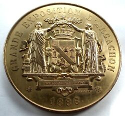 France, Grande Exposition D'arcachon 1886 Medal 69mm 147g Gold Plated Copper. B8