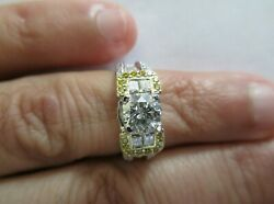 3.05 Carat 18k Gold Engagement Ring Center=1.10 F-si2 Size 5.50 Value=16,750