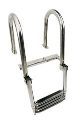 4 Step Telescoping Stainless Steel Folding Ladder Boat Pontoon Yacht Swimming