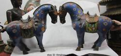 Chinese Folk Old Bronze Copper Cloisonne Lucky War-horse Tang Horse Statue Pair