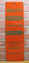 Old Porcelain Wrigley's Spearmint The Perfect Gum Machine Front Panel Ad Sign