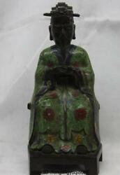 9 Chinese Old Bronze Cloisonne Palace Dynasty Civil Official Minister God Statue
