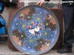 33chinese Royal Bronze Copper Cloisonne Red -crowned Crane Big Dish Tray Plate