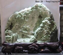 19 Chinese Green Dushan Jade Lofty Mountains Flowing Water Landscape Statue