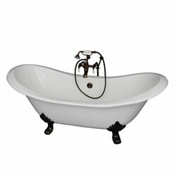 Oil Rubbed Bronze Tub Kit 71-Inch Cast Iron Double SlipperFiller Supplies and