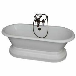 Oil Rubbed Bronze Tub Kit 67-Inch Cast Iron Double Roll Top Base Filler
