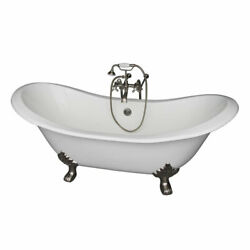 Brushed Nickel Tub Kit 71-Inch Cast Iron Double SlipperFiller Supplies and
