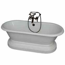 Oil Rubbed Bronze Tub Kit 61-InchCast Iron Double Roll Top with Base Filler