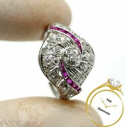 Antique Diamond And Ruby Platinum Art Deco Ring Vs Clarity With Video - Size 8