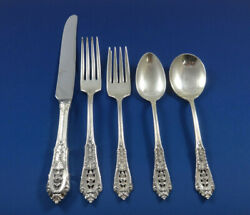 Rose Point By Wallace Sterling Silver Flatware Set For 8 Service 45 Pieces