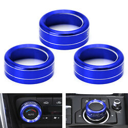 Blue Aluminum AC Climate Control Knob Ring Covers For 14-18 Mazda 3