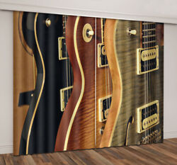 2 Panels 3d Window Curtains Three Colors Guitar Theme Blockout Drapes Fabric New