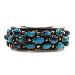 Navajo Bisbee Turquoise And Silver Bracelet, C. 1960s, Size 6.75