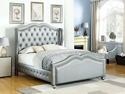 Coaster Belmont Grey Upholstered Queen Bed Grey GreyGold Traditional