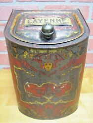 Antique Country Store Display Tin Cabinet Cayenne Spice Cinna And Co Ny Cherub