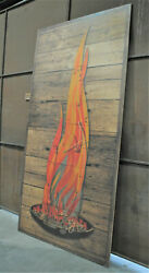 Large 10 Foot Tall Art Print Graphic Flames And Charcoal Bbq Barnwood Grill