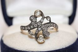 Antique Victorian 14k Gold Natural Diamond And Rose Cut Diamond Decorated Ring
