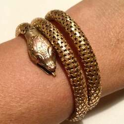 Rare Early Whiting and Davis Snake Bracelet Serpent Gold fill Bangle Ruby Eyes