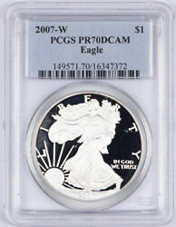 2007-w Proof American Silver Eagle Dollar 1 Pcgs Pr70 Dcam West Point