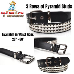 Studded Black Belt With 3 Row Pyramid Design Bonded Leather 28 - 48 Waist Size