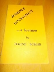 Audience Involement..a Lecture By Eugene Burger Softcover 1983