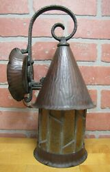 Antique Arts Crafts Gothic Copper Light Fixture Ornate Patina Wall Mount Lamp