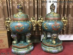 Copper Bronze Cloisonne Enamel Dragons Incense burner Beast Head Censer Pair