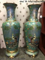 China Copper Cloisonne Enamel Crane Pot Vases Sika Deer Flower Bottle Vase Pair