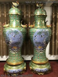 China Bronze Cloisonne Enamel Phoenix Birds Crane Vase Bottle Jar Pot Vase Pair