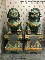 Palace Bronze Cloisonne Enamel  Bei Jing Guardian Fu Foo Dog Lion Statue Pair