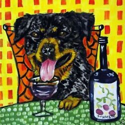 8X8 8X8 ROTTWEILER AT THE WINE BAR coaster dog art tile gift