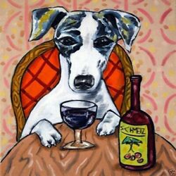 8X8 8X8 whippet at the wine bar dog art tile coaster