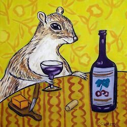 8X8 GREY SQUIRREL at the wine bar art tile coaster