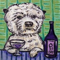8X8 WEST HIGHLAND WHITE TERRIER  at the wine bar dog art tile coaster gift