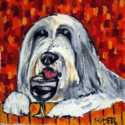 8X8 bearded collie at the wine bar gift animal ceramic  dog art tile coaster