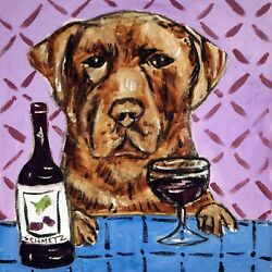 8X8 chocolate labrador at the wine bar dog art tile coaster gift gifts modern