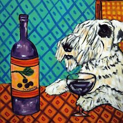 8X8 SEALYHAM Terrier at the wine bar dog art tile coaster