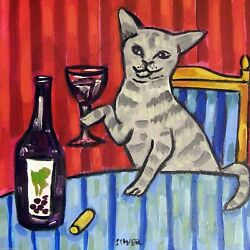 8X8 Grey cat at the wine bar art tile coaster gift artwork
