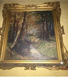 Vintage Nature Forest Path Painting