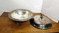 Wm Rogers And Son Spring Flower Silverplate Dish With Cover Footed 2 Pcs 2062