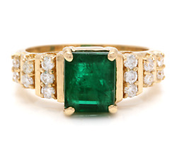 2.80ct Natural Emerald And Diamond 14k Solid Yellow Gold Ring