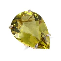 18k Yellow Gold 63.03 Ct Tgw Olive Green Quartz And Diamond One-of-a-kind Ring