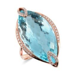 18k Rose Gold 24.15 Ct Tgw Sky Blue Topaz And Diamond One-of-a-kind Ring