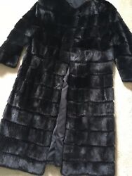 BLACK SHEARED MINK SAGA FUR BY MAILON WITH 3/4 SLEEVES - UK SIZE 10